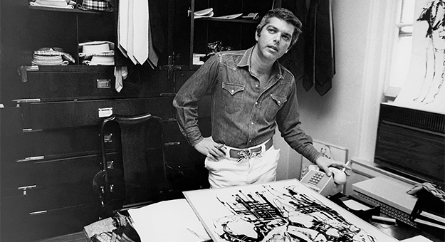 Men's designer, Ralph Lauren, working in his office. (Photo by Zachary Freyman/Condé Nast via Getty Images)